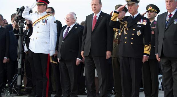 Prince Harry, Irish President Michael D Higgins, Turkish President Recep Tayyip Erdogan and the Prince of Wales at the service at the memorial in Cape Helles, Turkey as they attend commemorations marking the 100th anniversary of the Gallipoli campaign during World War I. Paul Edwards/The Sun /PA Wire.
