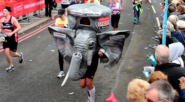 Marathon runners in fancy dress during the 2015 Virgin Money London Marathon. Adam Davy/PA Wire