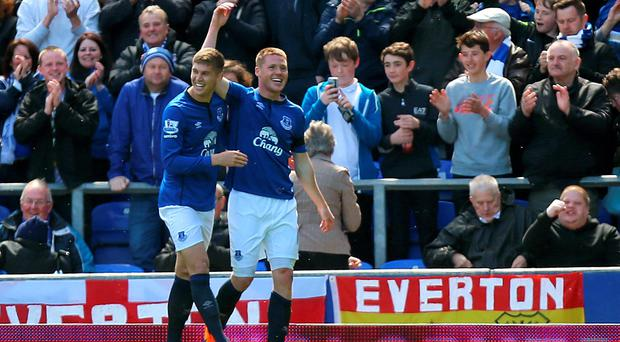 Everton's James McCarthy celebrates scoring his side's first goal during the Barclays Premier League match at Goodison Park, Liverpool. Peter Byrne/PA Wire.