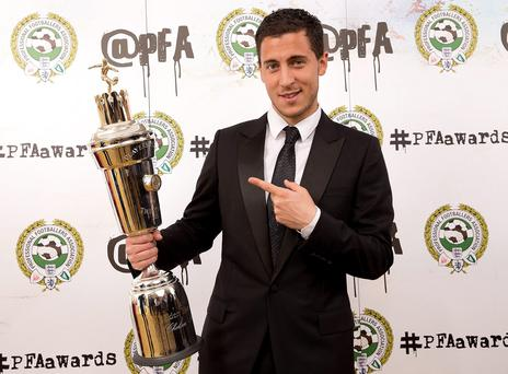Winner of the PFA's Men's Player of the Year, Eden Hazard during the PFA Awards at the Grosvenor House Hotel, London. PRESS ASSOCIATION Photo. Issue date: Monday April 27, 2015. Photo credit should read: Barrington Coombs/PA Wire