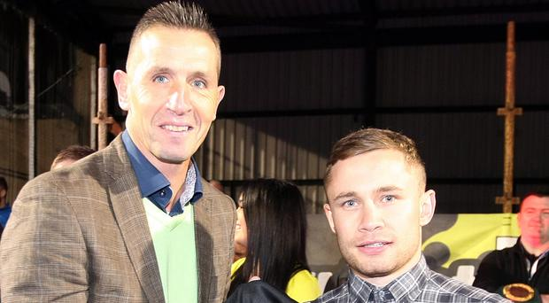 Stephen Baxter manager of Crusaders FC and Carl Frampton.