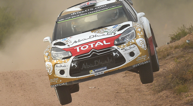 Flying machine: Kris Meeke on his way to victory in Argentina