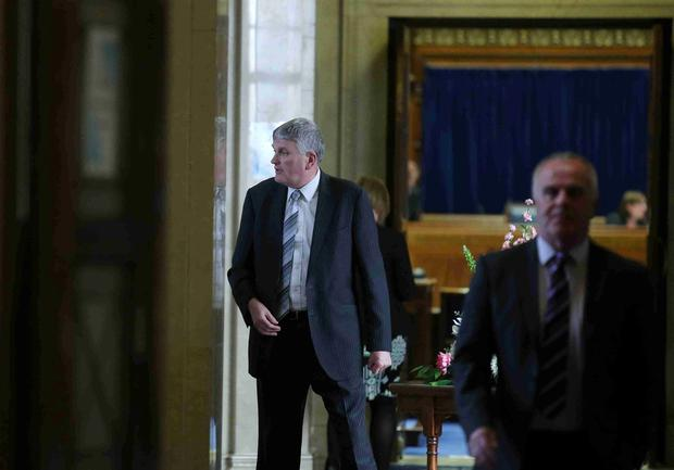 Health Minister Jim Wells' day at Stormont yesterday following his shock resignation announcement on Sunday night