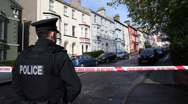 Crawford Square, Londonderry, is cordoned off as security forces investigate the explosion. Pic Lorcan Doherty/Presseye