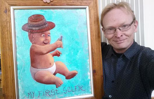 Artist Frank O'Dea takes a selfie of himself and his North West selfie painting