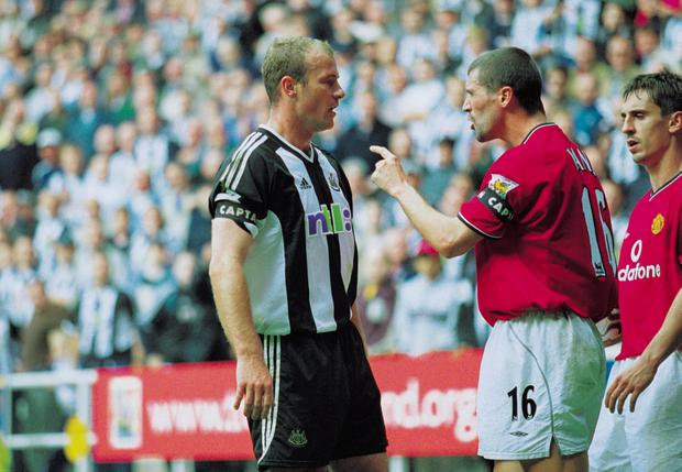15 Sep 2001: Roy Keane of Man Utd argues with Newcastle captain Alan Shearer