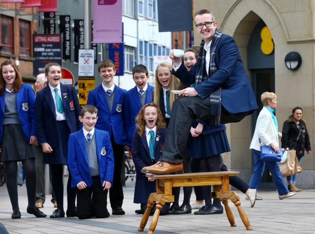 David Meade today wowed pupils from St Killians and Wellington College in Belfast city centre with a gravity-defying stunt to launch the 2016 BT Young Scientist & Technology Exhibition.