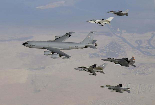 Boeing KC-135R Stratotanker refuelling aircraft reportedly vanished off radar after it left northern France. Above: A Stratotanker leads a formation of jets including an F-15 Strike Eagle, two F-16 Fighting Falcons and two British GR4 Tornados December 29, 2003 in undisclosed airspace. (Photo by Suzanne M. Jenkins/U.S. Air Force via Getty Images)