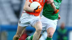 Allianz Football League Division 3 Final, Croke Park, Dublin 25/4/2015 Armagh vs Fermanagh Armagh's Andy Mallon is tackled by Niall Cassidy of Fermanagh Mandatory Credit ?INPHO/Cathal Noonan