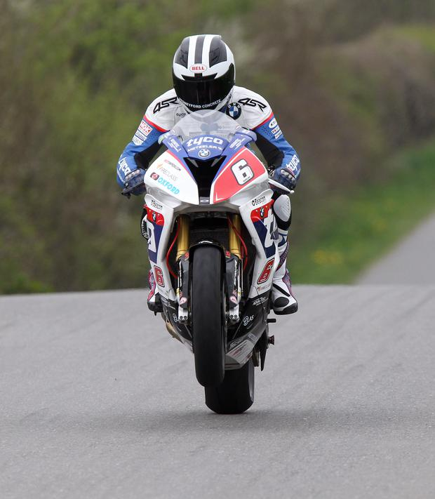 PACEMAKER, BELFAST,24/4/2015: William Dunlop gets the Tyco BMW S1000RR airborne during Cookstown 100 practice on Friday evening. PICTURE BY STEPHEN DAVISON