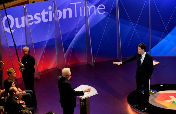 Labour leader Ed Miliband takes part in a special BBC Question Time programme, hosted by David Dimbleby (WPA Pool /Getty Images)