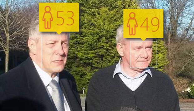 Peter Robinson is identified as 53 (real age 66) and Martin McGuinness as 49 (real age 64) by Microsoft's How Old Do I Look website. Results can vary. The site displays the message: