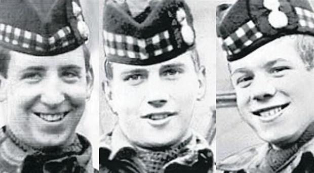 From right: John (17) and Joseph McCaig (18), and Dougald McCaughey (23) had been drinking on a night off-duty and were in their civilian clothes when they were killed in March 1971.
