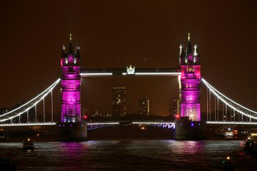 Tower Bridge is lit up to celebrate the birth of the Duke and Duchess of Cambridge's daughter