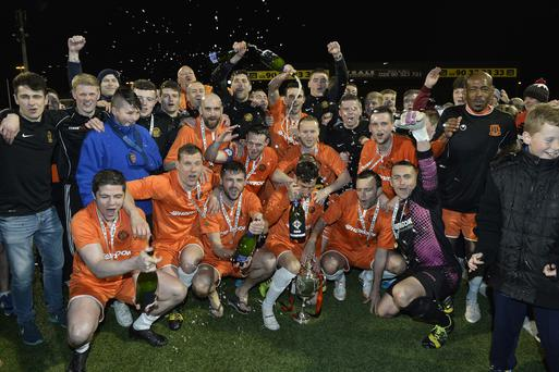 Carrick Rangers celebrate winning the Intermediate Cup