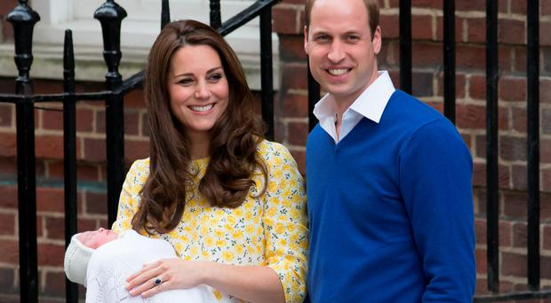 The Duke and Duchess of Cambridge outside the Lindo Wing of St Mary's Hospital in London, with their newborn daughter The Princess of Cambridge
