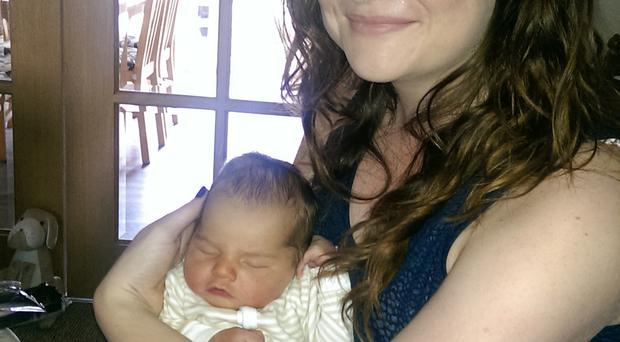 Mum Nicola with baby Oliver yesterday