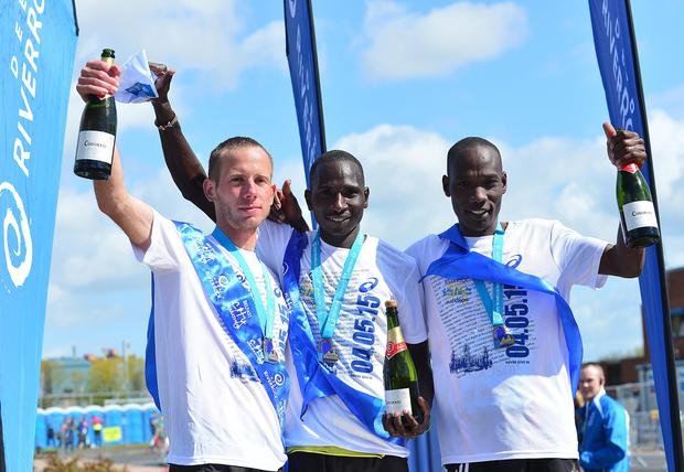 Pacemaker Press Belfast 04-05-2015: 2015 Deep RiverRock Belfast City Marathon, Northern Ireland. Winner of the 2015 Deep River rock marathon Joel Kositany 2rd Gideon Kimosop. and 3rd Hungarian Tamas Nagy . Picture By: Arthur Allison.