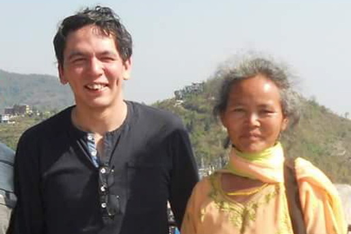 John Hodge with his mother in Nepal