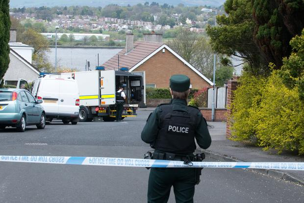 The scene at the rear of the Territorial Army Base in Derry where army technical officers were called following the discovery of suspicious objects. Picture: Martin McKeown