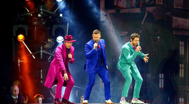 Take That on stage during the Take That live tour featuring Ella Henderson at the Odyssey Arena in Belfast, Northern Ireland. Picture: Kevin Scott / Belfast Telegraph