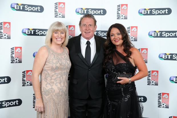 Press Eye - Belfast - Northern Ireland - 4th May 2015 - NIFWA Annual Dinner 2015 sponsored by BT Sport at the Ramada Hotel Belfast. Judith Tully, Gerry and Debby Armstrong Picture by Kelvin Boyes / Press Eye.