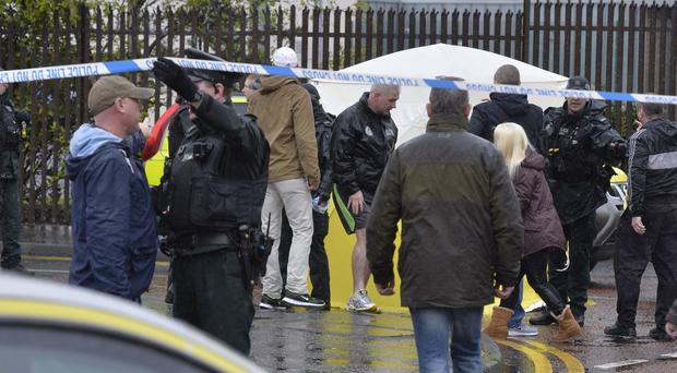 The scene where IRA leader Gerard 'Jock' Davison was shot dead in Belfast's Markets