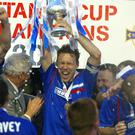 Blue heaven: Linfield's Noel Bailie with Setanta Cup in 2005