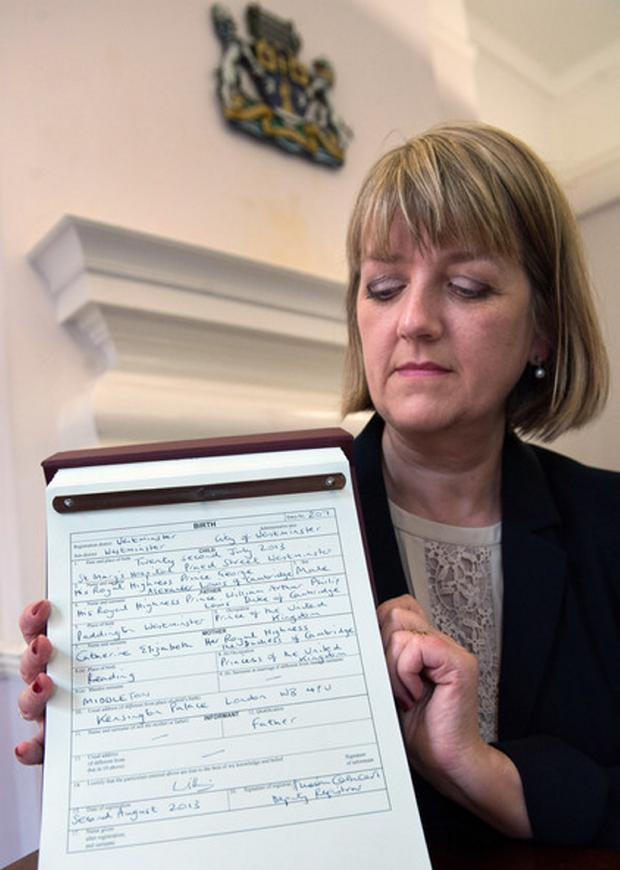 Registrar Alison Cathcart after the Duke and Duchess of Cambridge registered the birth of their son George in August 2013
