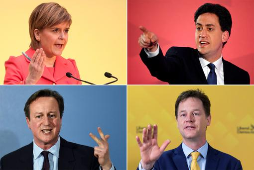 SNP's Nicola Sturgeon, Labour leader Ed Miliband, Conservatives leader David Cameron and Lib Dems' Nick Clegg campaigning in the run up to the UK elections.