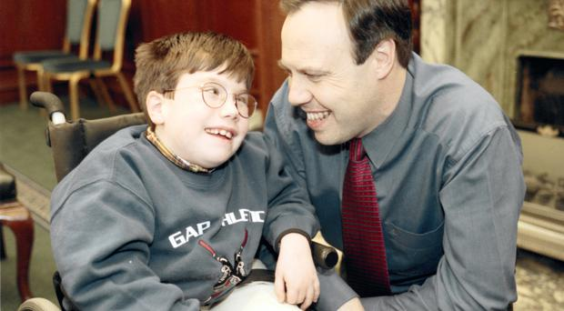 The DUP's Nigel Dodds with his late son Andrew in 1998