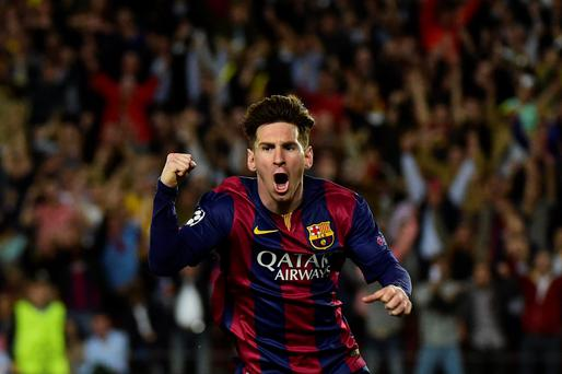 Barcelona's Argentinian forward Lionel Messi celebrates after scoring during the UEFA Champions League football match FC Barcelona vs FC Bayern Muenchen at the Camp Nou stadium in Barcelona on May 6, 2015. AFP PHOTO/ PIERRE-PHILIPPE MARCOUPIERRE-PHILIPPE MARCOU/AFP/Getty Images