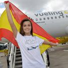 Lucy Spratt at George Best Belfast City Airport welcoming the arrival of the first flight from Barcelona operated by Vueling Airlines.