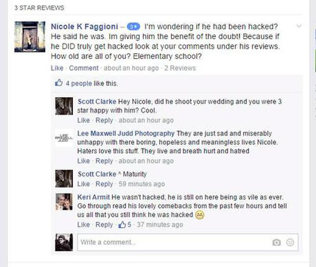 The post prompted a flurry of critical reviews on the photographer's Facebook page
