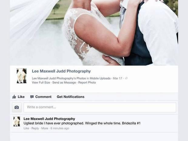 The Australian wedding photographer said the abusive post was the work of hackers