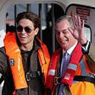 Nigel Farage and Joey Essex on board the Grimsby pilot boat during campaigning in Grimsby