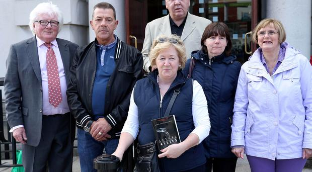 Families of Glenanne gang victims (from left) Patrick Fay, Noel Hegarty, Bernie McNally, Aiden Shield, Bernadette Joly and Margaret Irwin