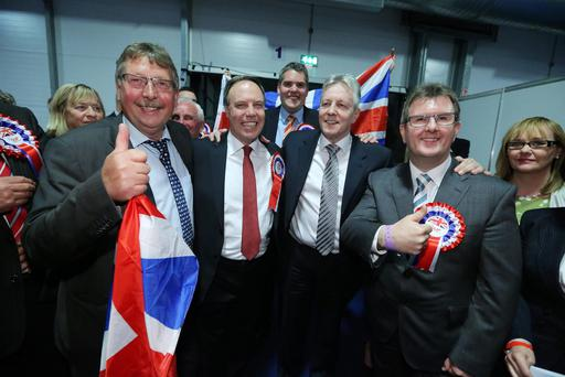 Sammy Wilson, Nigel Dodds, Gavin Robinson, Peter Robinson and Jeffrey Donaldson. Picture by Kelvin Boyes / Press Eye.