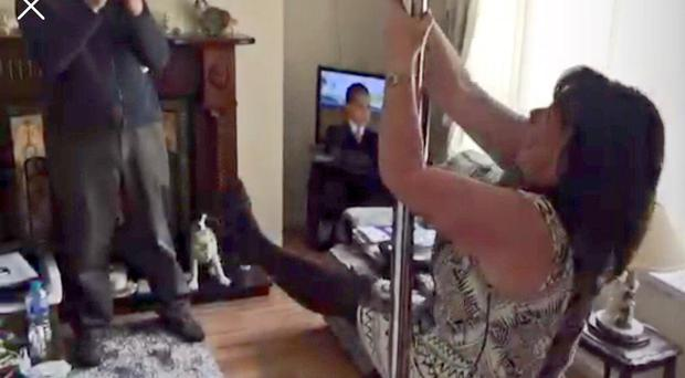 Sinn Fein's Michelle Gildernew was pictured pole dancing while out canvassing with Martin McGuinness and Phil Flanagan in Fermanagh. The moment was captured on camera by reporter Rodney Edwards... and by McGuiness.