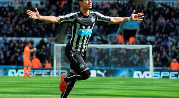 Ayoze Perez celebrates his equaliser against West Brom