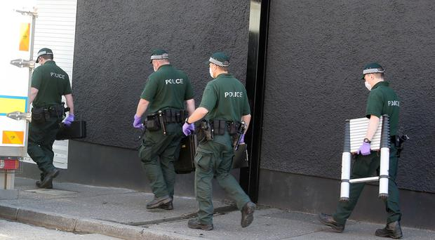 Police attend a security alert on Castlereigh Parade in east Belfast. ATO were sent to the scene after police search at a property discovered a number of items. Picture: Jonathan Porter / Press Eye