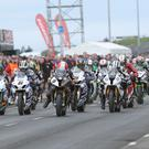 17/5/2014: The pack scream off the grid at the start of the feature Superbike race at the Vauxhall International North West 200.