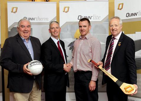 Done deal: Ulster GAA Writers Association chairman John Martin (second left) is joined by Martin McGrath (Quinn Products), Ireland International Rules team manager Joe Kernan and Ulster Council chairman Martin McAviney at the formal launch of the Writers Association new sponsorship deal