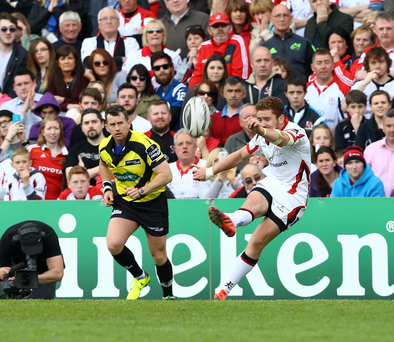 Cool head: Paddy Jackson nails the last-gasp conversion that earned Ulster a draw against Munster