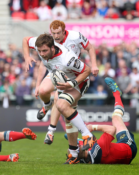 Dismissed: Ulster's Iain Henderson saw red against Munster