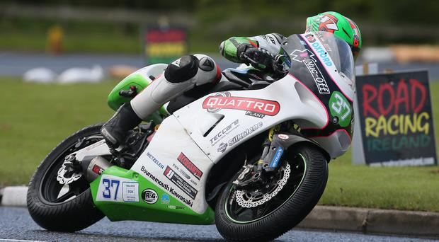 Upper hand: James Hillier took advantage of the sun to finish 0.065seconds up on rival Ryan Farquhar in the Supertwin class