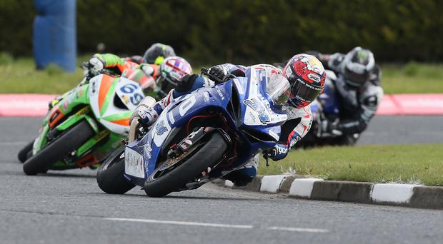 No stopping that man: Alastair Seeley leads the way during the Supersport race David Maginnis
