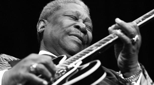 Blues legend B.B. King performs February 17, 2002 at the House of Blues in Las Vegas, NV. (Photo by Scott Harrison/Getty Images)