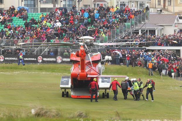 A female spectator is air lifted to the Royal Victoria Hospital after being injured during a crash incident during Saturday's superstock race at the North west 200 road races. Photo Tremaine Gregg/Pacemaker Press
