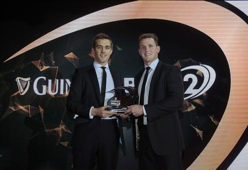 REPRO FREE***PRESS RELESE NO REPRODUCTION FEE*** 2015 Guinness PRO12 Awards, Guinness Storehouse, Dublin 17/5/2015 Craig Gilroy Ulster Rugby receives the Sky Sports Try of the Year award from Alex Payne Mandatory Credit ?INPHO/Dan Sheridan